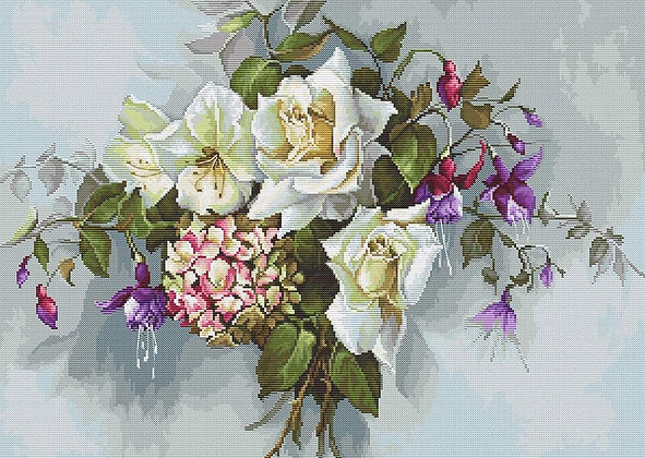 BA2363 Bouquet with Roses - Cross Stitch Kit