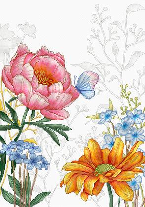 BU4019 Flowers and Butterfly - Cross Stitch Kit