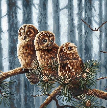 LETI 946 Owls family - LETISTITCH - Cross Stitch Kit