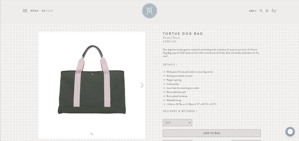 Mungo & Maud: Tortue Dog Bag