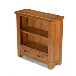 Earlswood Oak Low Bookcase With Drawer