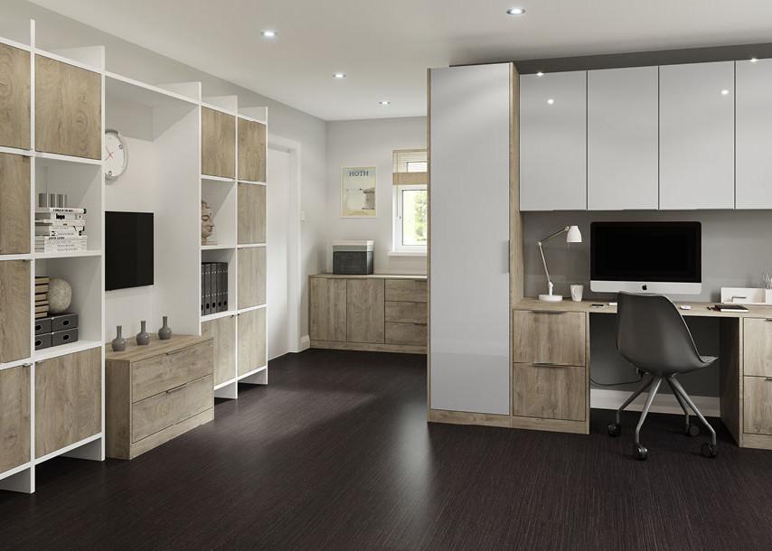 Furore Gloss Bedroom White and Sand Oak