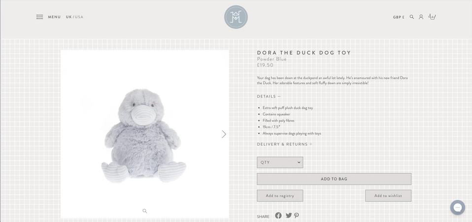 Mungo & Maud: Dora The Duck Dog Toy