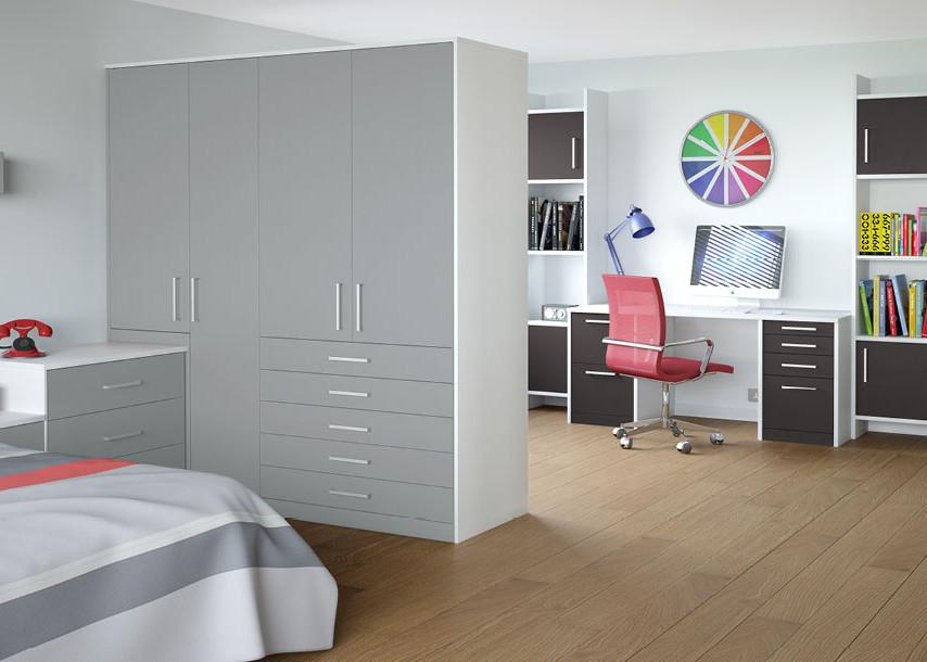 Zeluso Bedroom Grey Silk White and Graphite