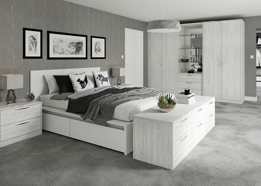 Textura Bedroom White Wood