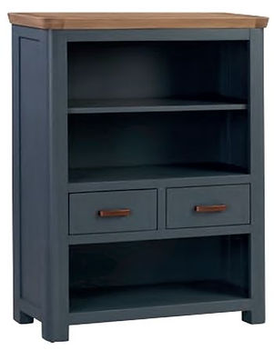 Treviso Midnight Blue and Oak Low Bookcase