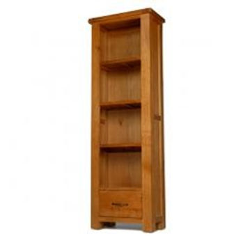 Earlswood Oak Slim Bookcase With Drawer