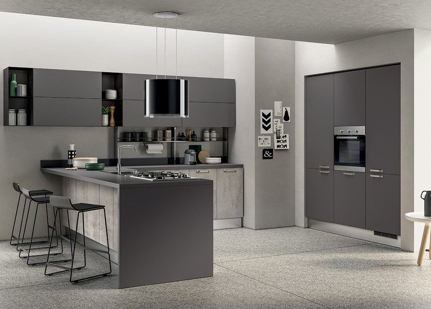 Shades of grey for this kitchen with a t