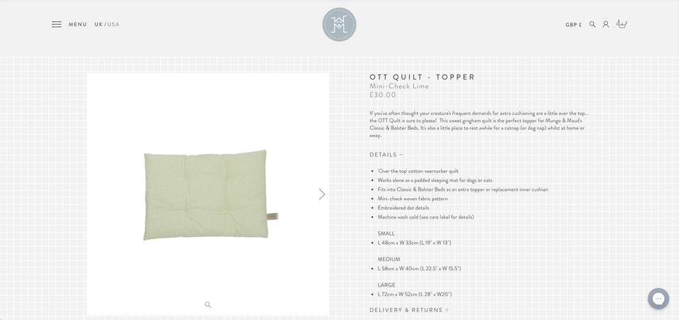 Mungo & Maud: OTT Quilt - Topper