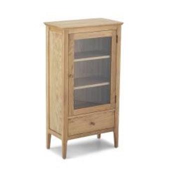 Wardley Oak Glazed Bookcase with Drawer