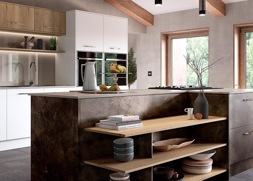Madoc Terra With Portland Oak Shelving