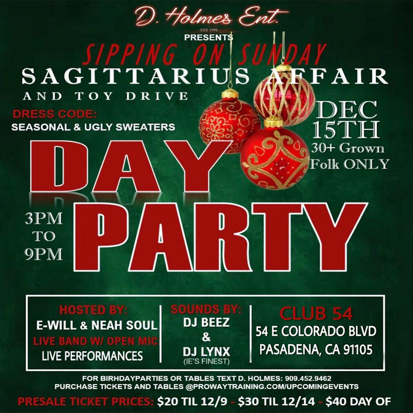 SIPPING ON SUNDAY SAGITTARIUS AFFAIR AND TOY DRIVE