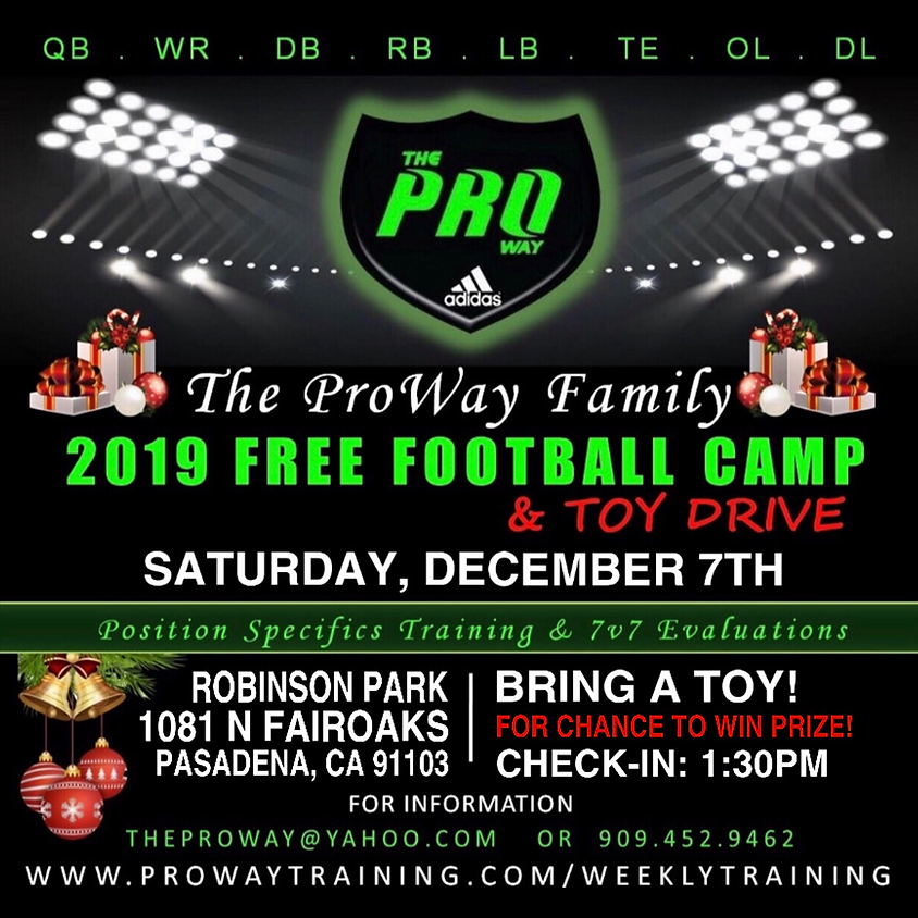 FREE ALL POSITIONS FOOTBALL CAMP & TOY DRIVE