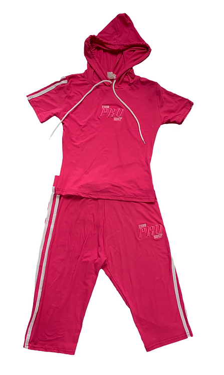 THE PROWAY WOMEN'S 2 PIECE HOODED PINK PANTHER PEDAL PUSHERS