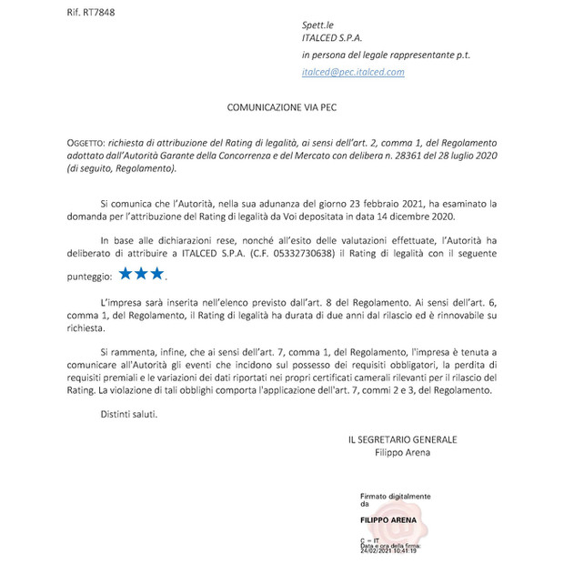 Rating di Legalità ***