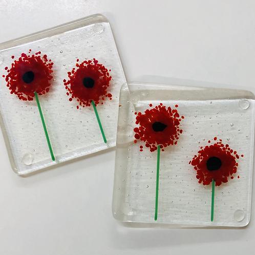Glass Fused Coasters 'Make At Home' Kit Sprinkle Flowers (Make 4)