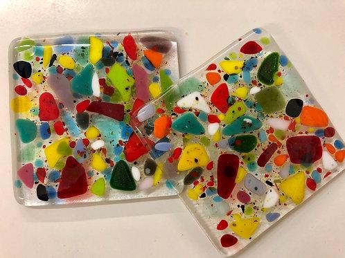 2 glass fused colourful coasters