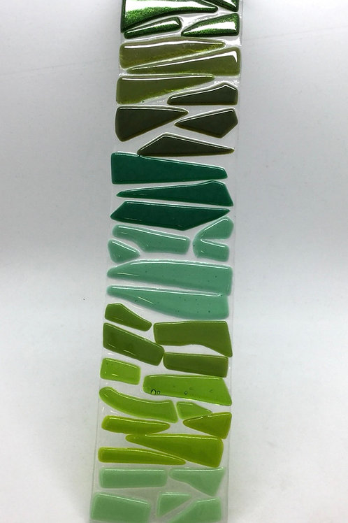 Large glass fused wish stick in shades of green