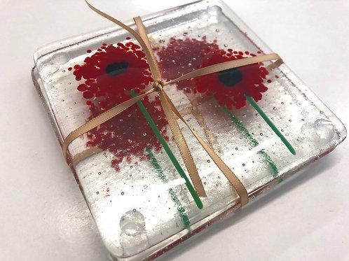 2 glass fused  poppy coasters
