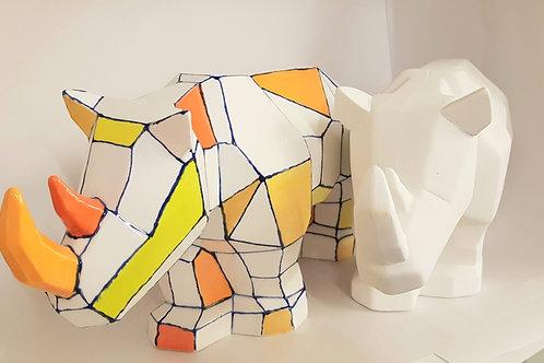 Faceted Rhino 16.5cm H x 32cm L
