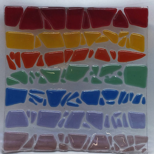 Rainbow stripe glass fused plate