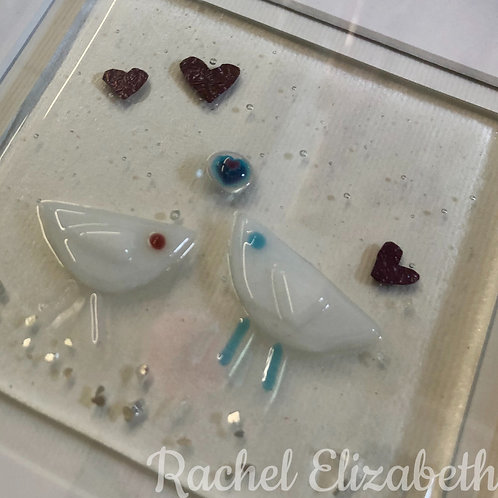 Glass Fused Love Bird Picture