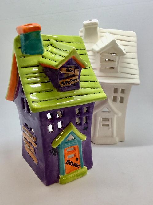 Haunted House Wonky Lantern 16 x 10 x9cm
