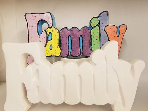 FAMILY word 26.7cm x 13.9cm