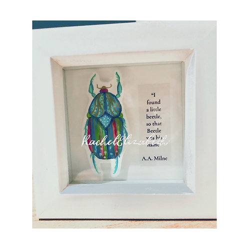 Mini Colourful Beetle Picture Hand Painted