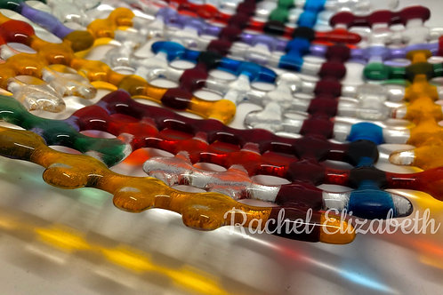 Rainbow Glass Fused Lattice Plate