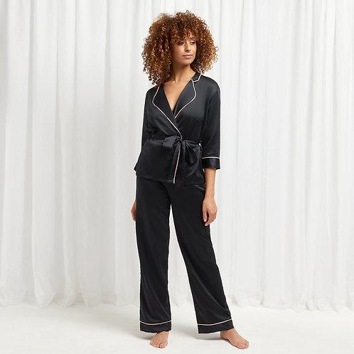 BLUEBELLA pijama-kimono satin neagra Wren