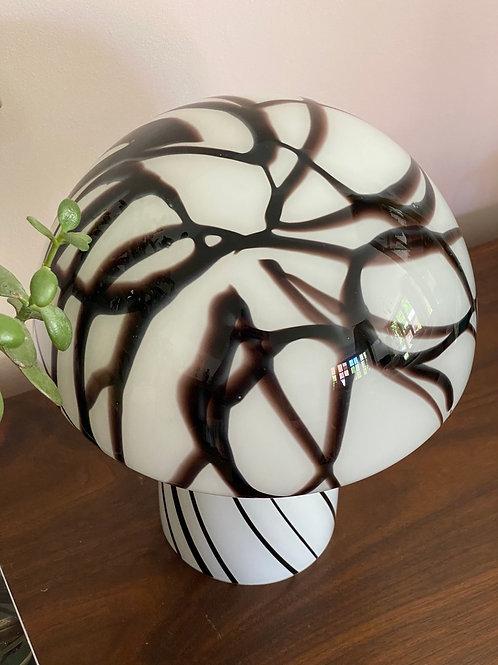 Black and white swirl Murano mushroom lamp C.1970