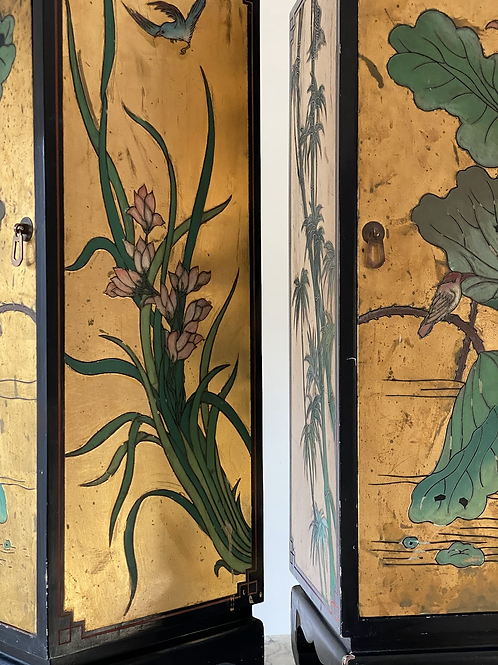 2 mid century chinoiserie cabinets.