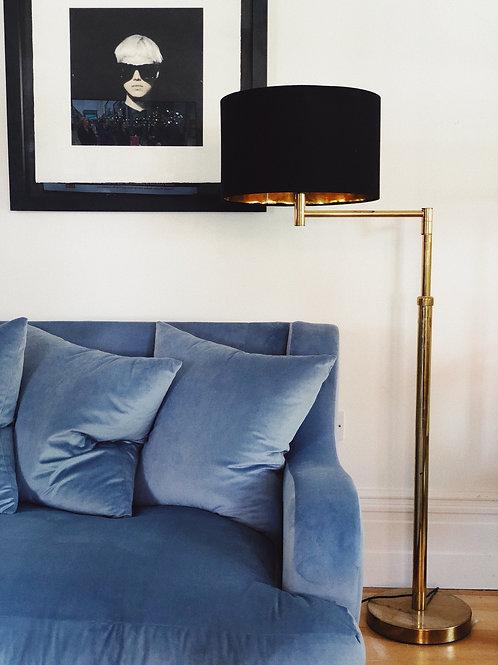 Powder blue velvet sofa