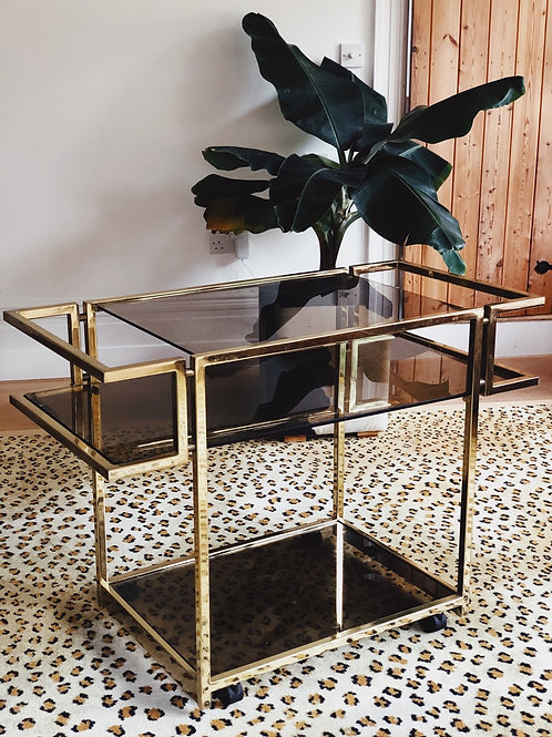 Romeo Rega style Brass Drinks Cart ~ C.1970