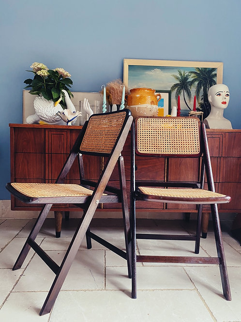 French cane folding chair c.1960