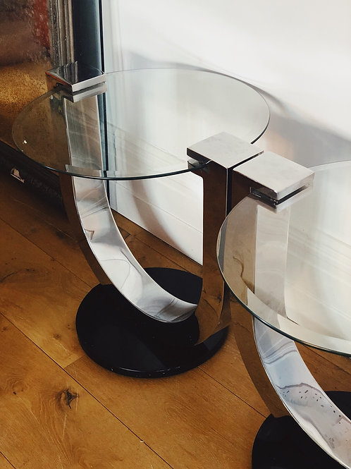 Italian chrome side tables
