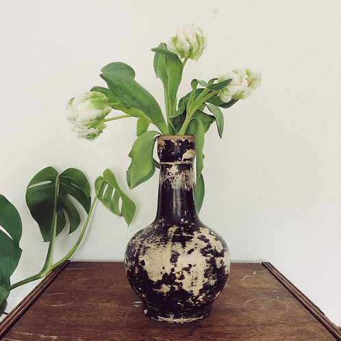 19th Century black and white weathered vase.