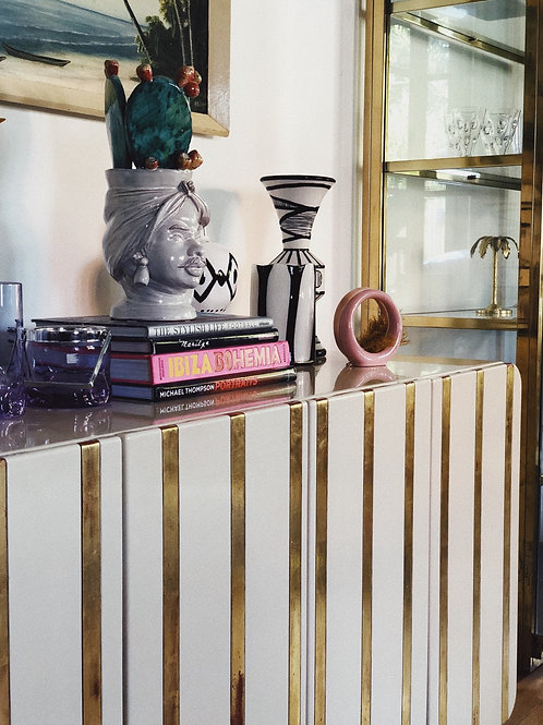 Italian Ivory and brass sideboard C.1970