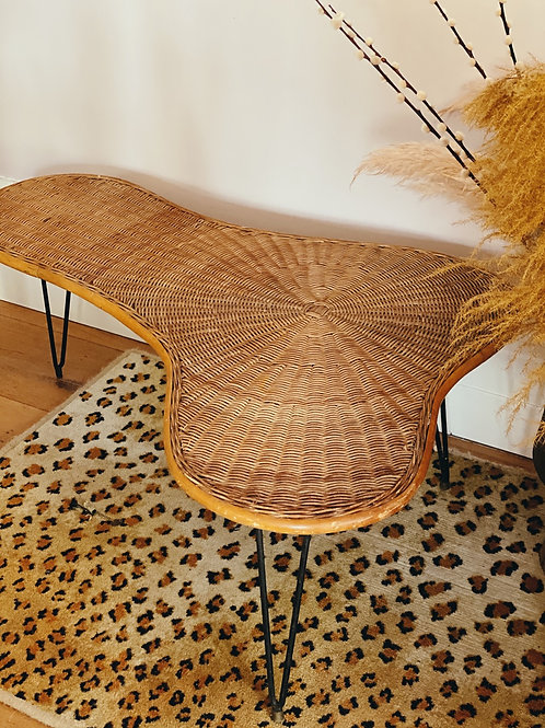 Italian 1950s rattan and iron coffee table
