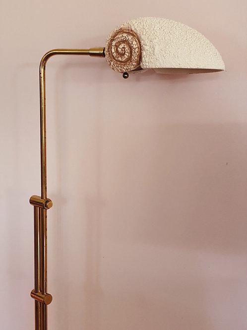 1980s modernist ceramic shell brass lamp