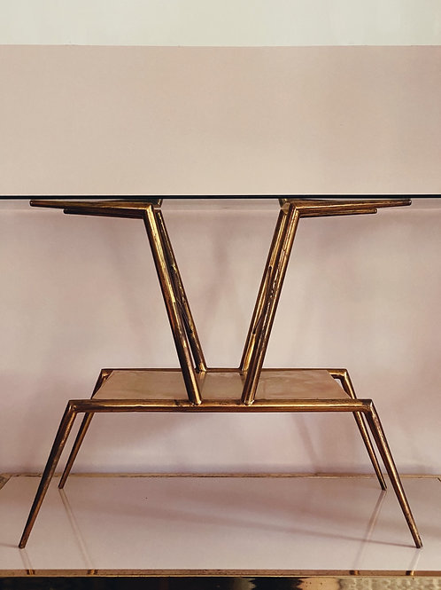 Gio Ponti brass and crystal glass coffee table C.1950