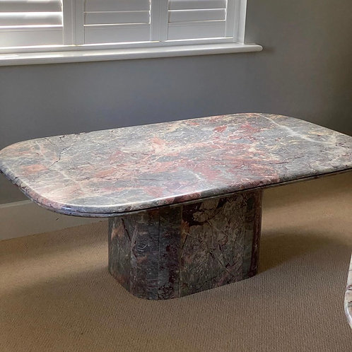 Pink and grey Italian marble coffee table