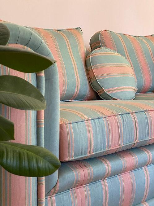 Silk 1980s pink and blue stripe sofa