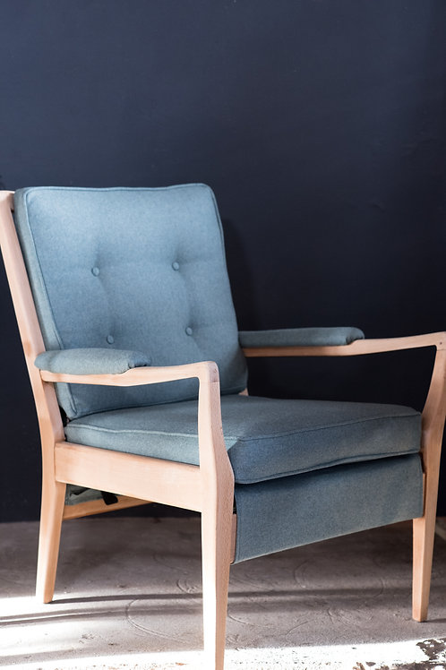 Mid Century Cintique Chairs, Green Wool (SOLD AS A PAIR)