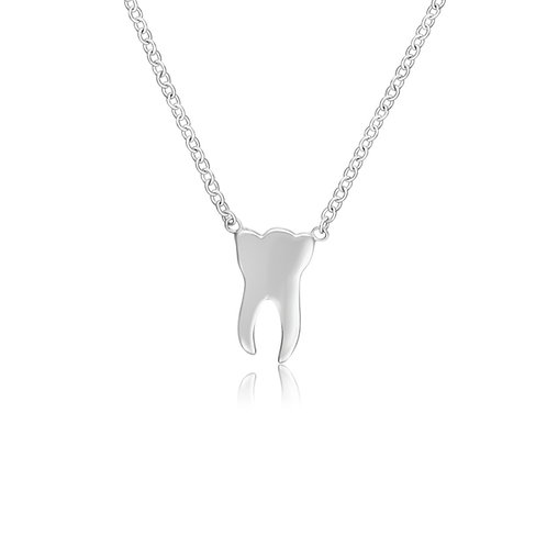 WHITE GOLD TOOTH NECKLACE