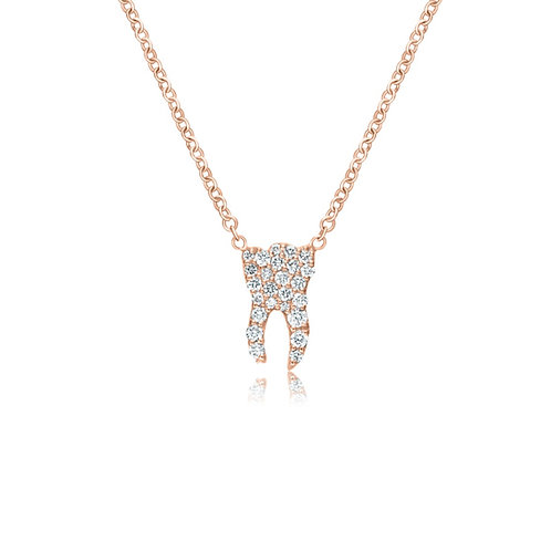 ROSE GOLD DIAMOND TOOTH NECKLACE