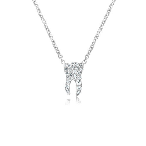 WHITE GOLD DIAMOND TOOTH NECKLACE