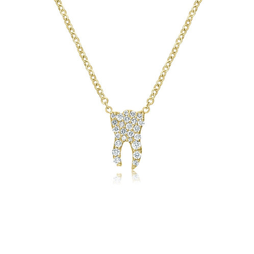 YELLOW GOLD DIAMOND TOOTH NECKLACE