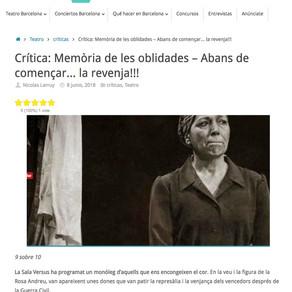"""Rosa Andreu. Crítica de """"Memòria de les oblidades"""" – Abans de començar… la revenja!!!"""